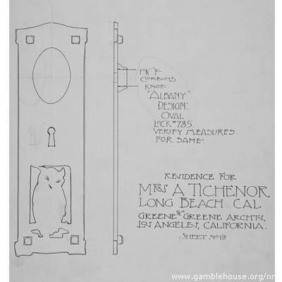 Adelaide A. Tichenor Design for door escutcheon