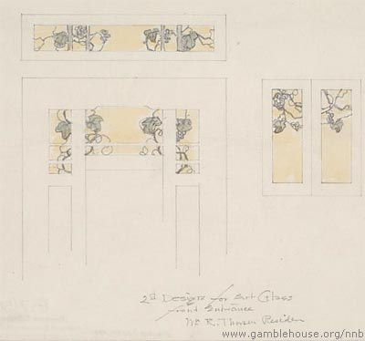 William R. Thorsen Design for leaded glass panels in front door, transom and hall windows