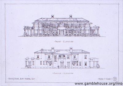 Front and garden elevations, Hubert F. Krantz house