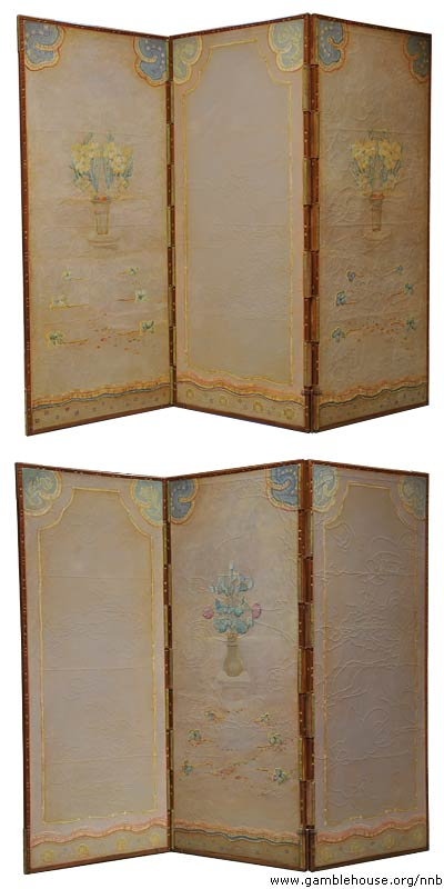 Mrs. Francis Fleury Prentiss painted boudoir screen