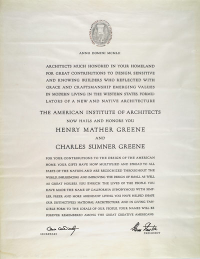 American Institute of Architects Special citation